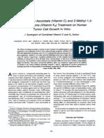 Effects of Sodium Ascorbate (Vitamin C) and 2-Methyl-1,4-Naphthoquinone (Vitamin K3) Treatment on Human Tumor Cell Growth in Vitro