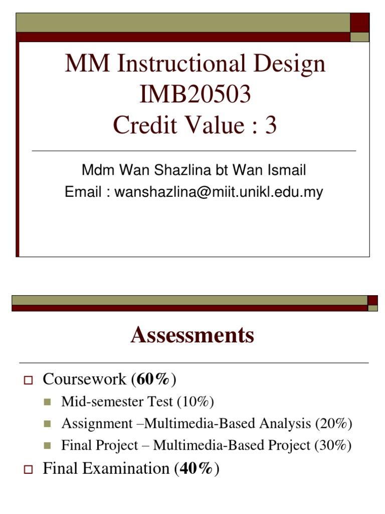 1 2 3 Multimedia Instructional Design Needs Assessment Instructional Design