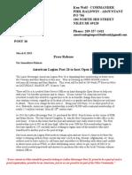 Press Release American Legion Post 26 Open House