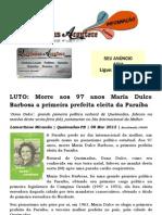 LUTO Morre aos 97 anos Maria Dulce Barbosa a primeira prefeita eleita da Paraíba