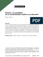 RANCIERE Y LA POSIBILIDAD DE UN ACONTECIMIENTO POLÍTICO EN LA EDUCACION