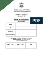 Chem1113 Final Exam S2007 Final