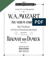 Mozart - Ave Verum Corpus KV 618 (Violin, Piano)