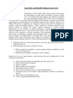 Function of Occupational Safety and Health Ordinance and Act in Malaysia