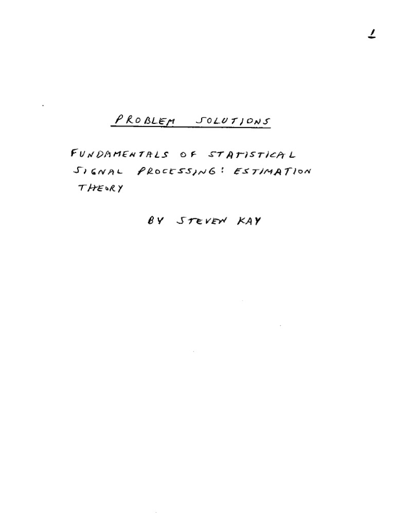 estimation theory book solutions stephen kay rh scribd com Estimation and Number Theory Estimation and Number Theory