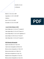 Astronomical Power Dates of 2013