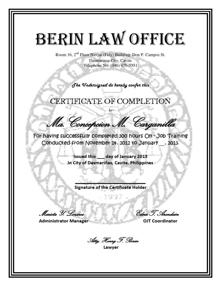 Certificate of ojt con concx yelopaper Gallery