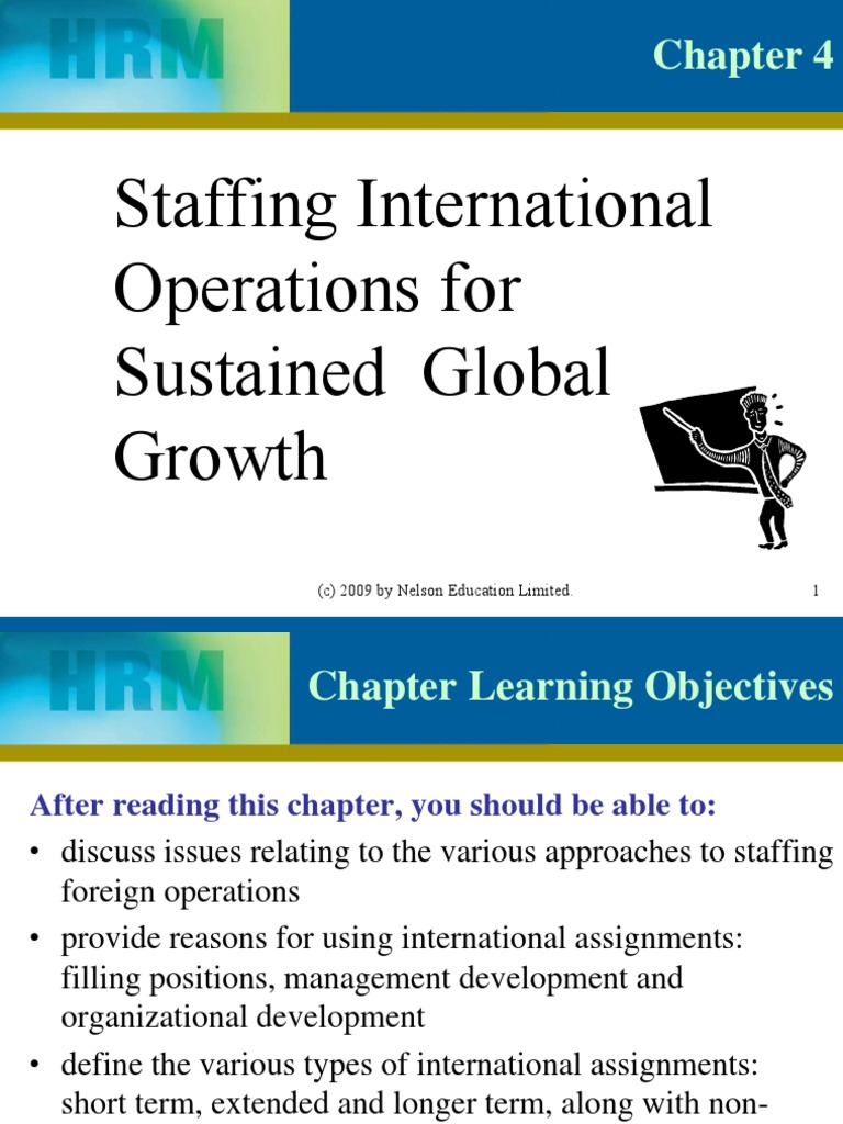 main characteristics of four approaches to international staffing