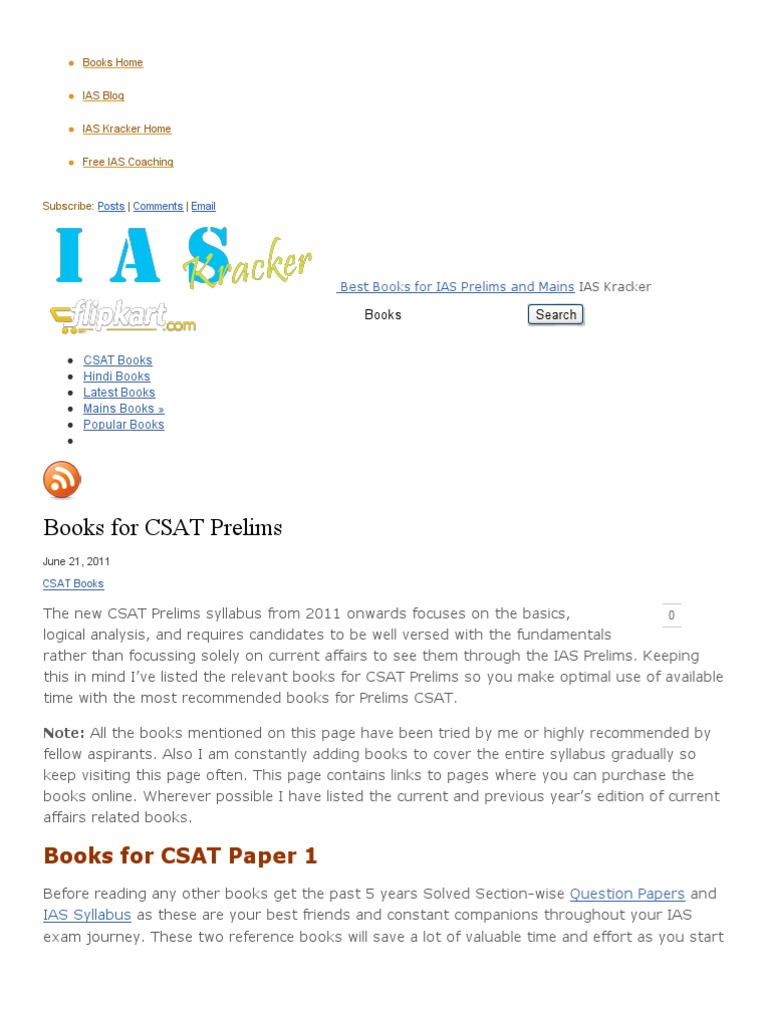 » Books for CSAT Prelims » Best Books for IAS Prelims and Mains | Test  (Assessment) | Facebook