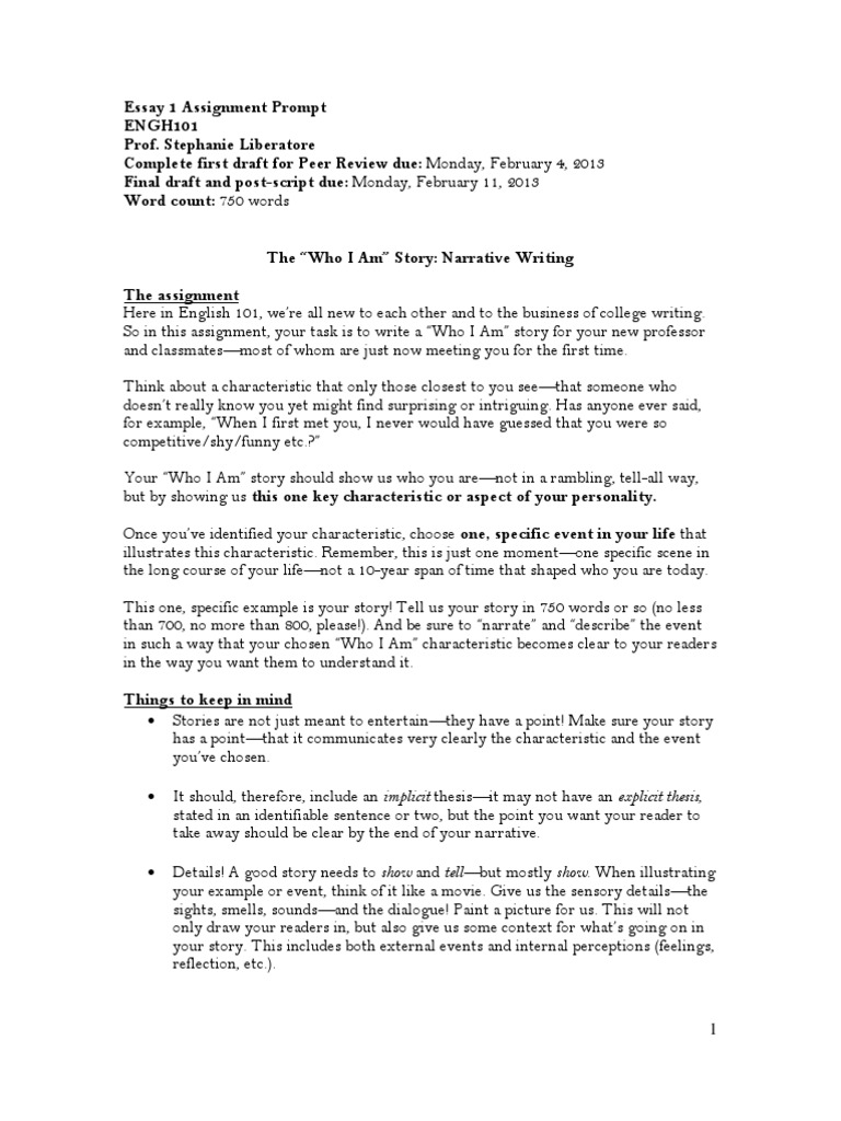 essay 1 prompt who i am story narrative perception. Resume Example. Resume CV Cover Letter