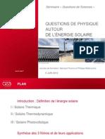 CEA - Formation Energie Solaire Juin 2012