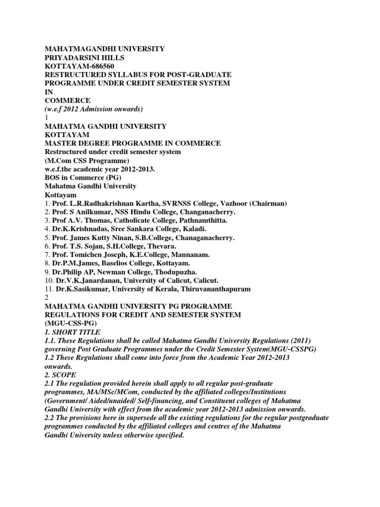 M Com syllabus of mg university | Course Credit | Grading (Education)