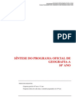 Síntese Oficial do Programa Geografia-A de 10ºano