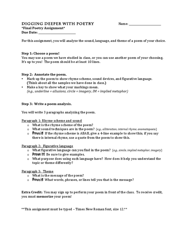 how to write a poem analysis essay word