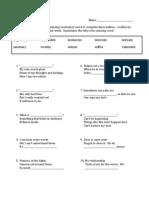 Vocab 10 Haikus - Worksheet
