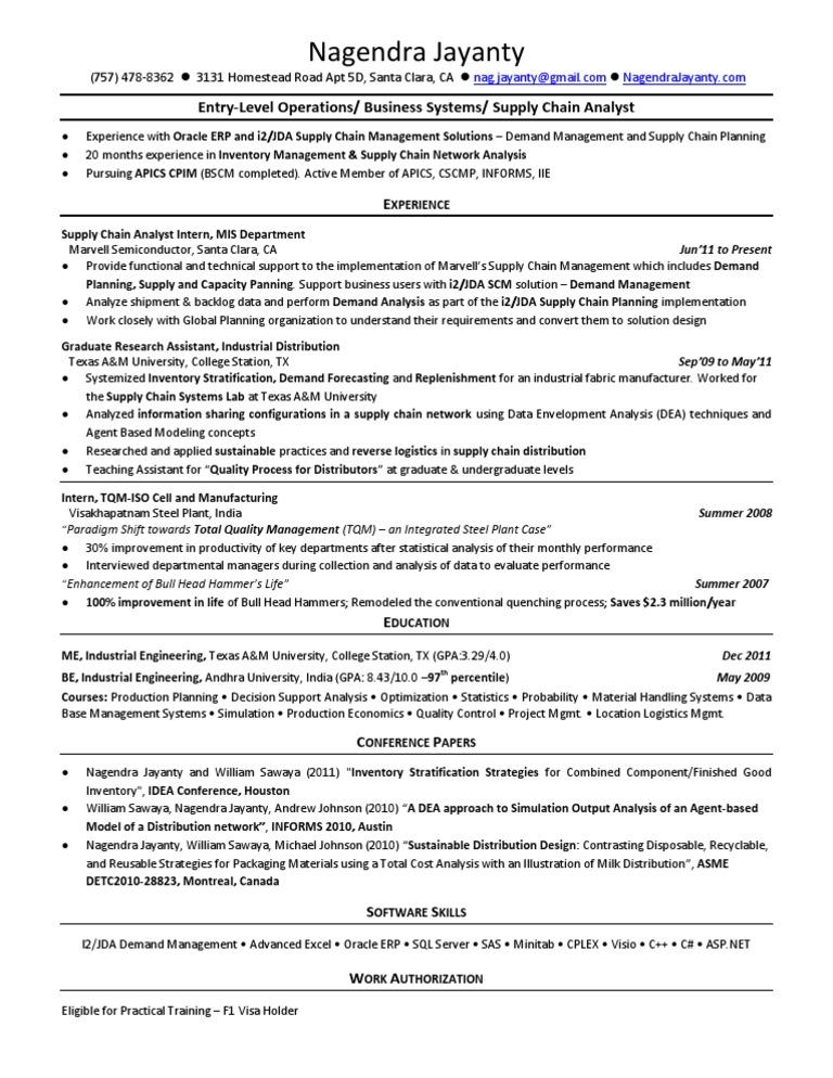 54599967 entry level supply chain resume nagendra jayanty supply
