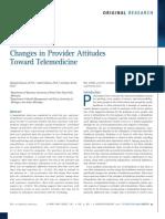 Changes in Provider Attitudes Toward Telemedicine