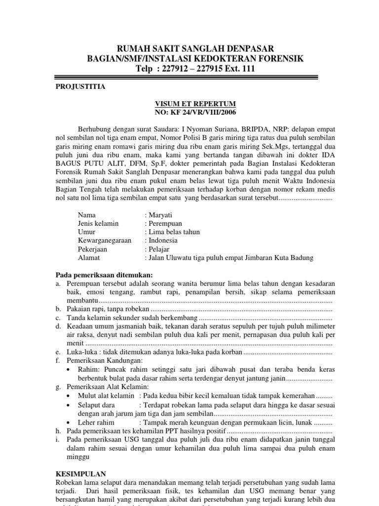 Contoh Surat Visum Et Repertum Luka Akibat Kekerasan Contoh Lif Co Id