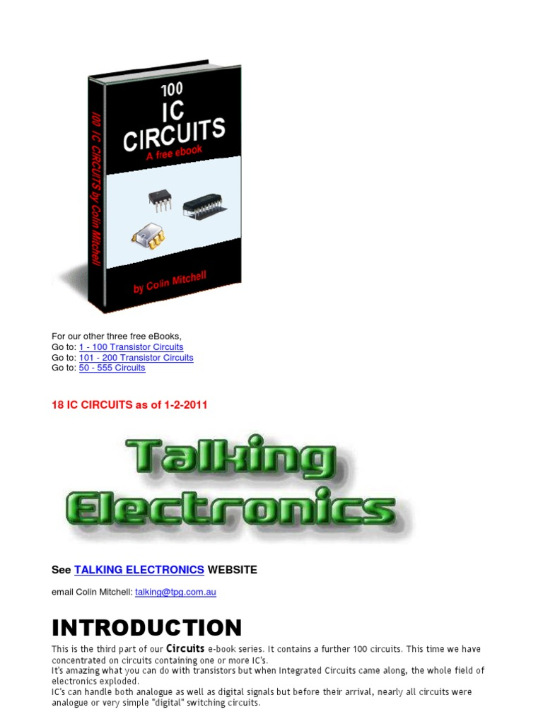 100 Ic Circuit Electronic Circuits Integrated Simple Touch Switch Using 555