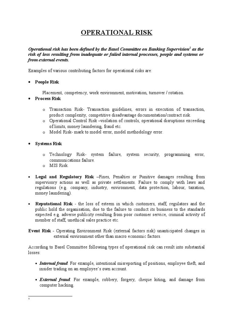 Operational Risk Operational Risk Risk Management