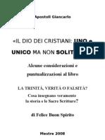 - APOSTOLI  G. - Considerazioni sul libro di Felice Buon Spirito - La Trinità,Verità o Falsità