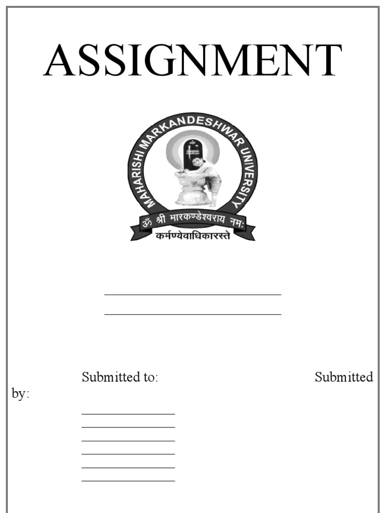 assignment front page formatdoc