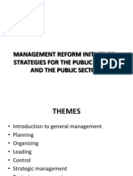 Management Reform Initiatives in the Public Service and the Public Sector