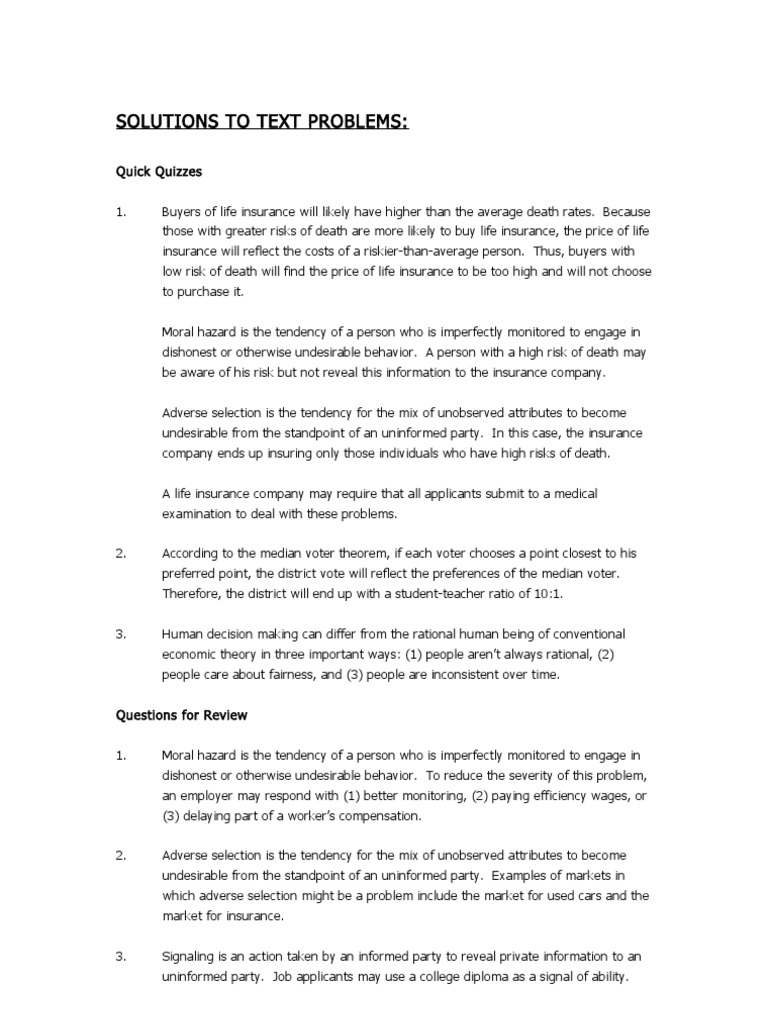 Chapter 22 Adverse Selection Insurance
