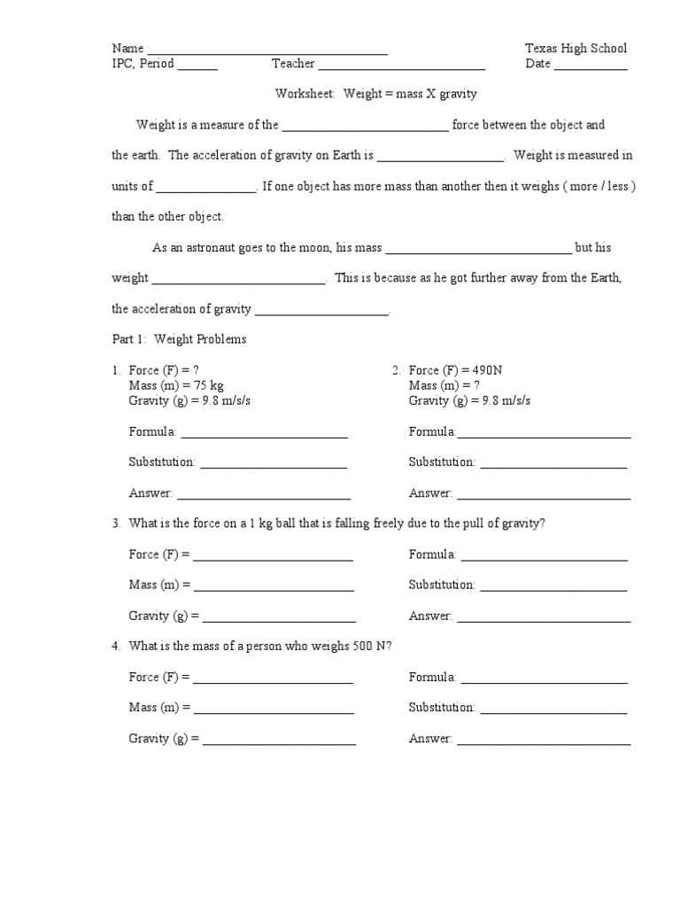 Worksheets Mass And Weight Worksheet worksheet force mass x gravity