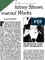Art Kramer Warhol Whitney Show 1979