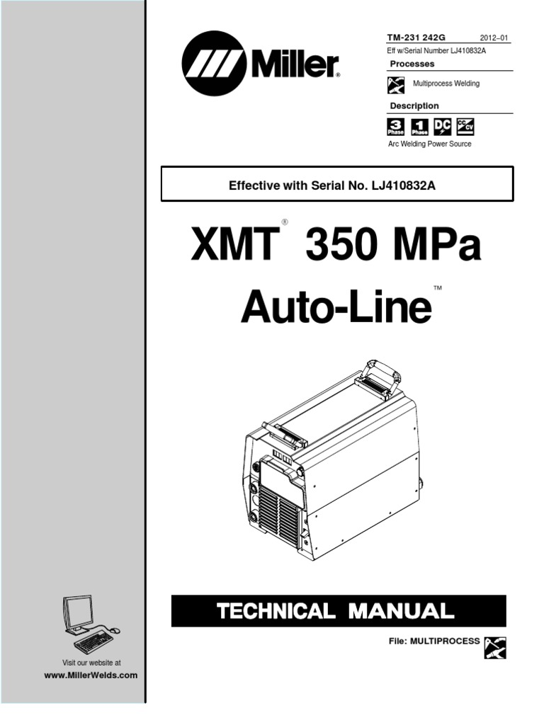 Xmt350mpaauto Line (lj410832a) Fuse (electrical) Welding 3 Wire Sensor  Wiring Miller Xmt 3 Wire Diagram