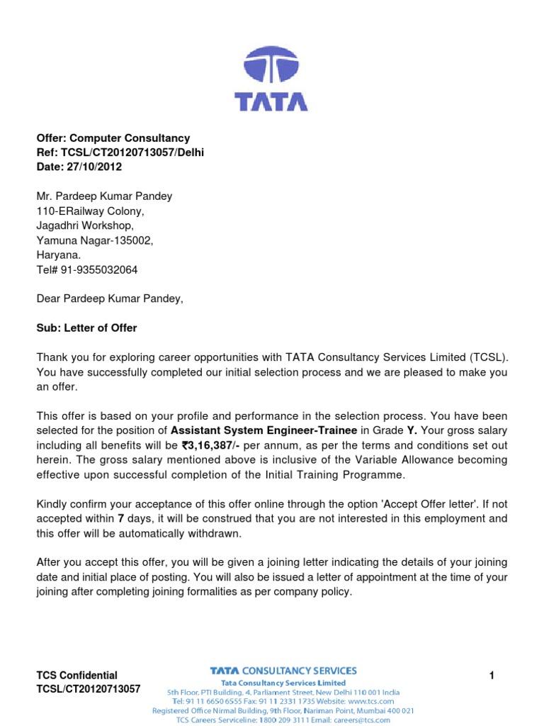 Job Offer Letter Format Pdf.  Offer Letter Insurance Economies