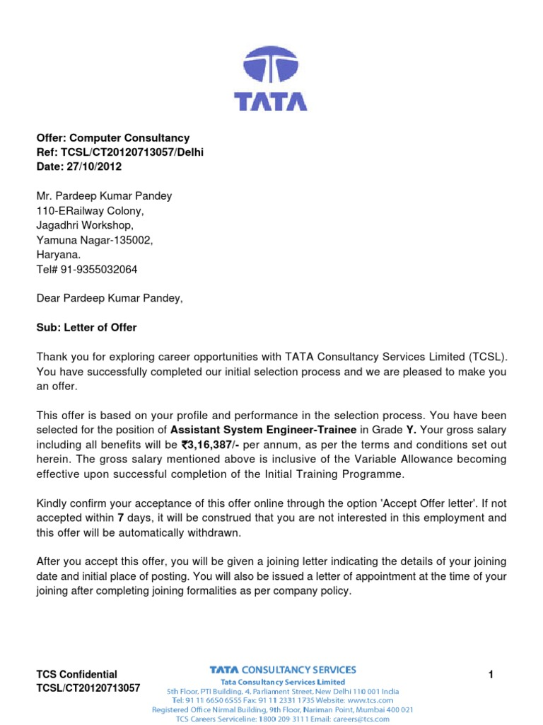 offer letter Oylekalakaarico