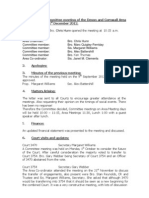 AOF Devon & Cornwall, Committee Minutes 1st December 2012