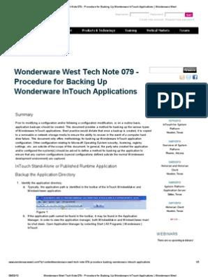 Wonderware West Tech Note 079 - Procedure for Backing Up Wonderware