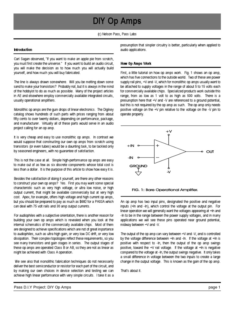 Diy Op Amp By Nelson Pass Amplifier Operational Power Connections For Opamp Circuit