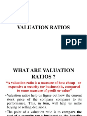 Valuation Ratios Peg Ratio Valuation Finance