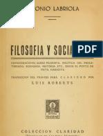Antonio Labriola - Filosofía y socialismo