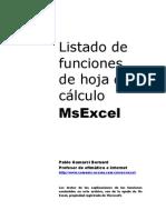 Listado de Funciones de Excel