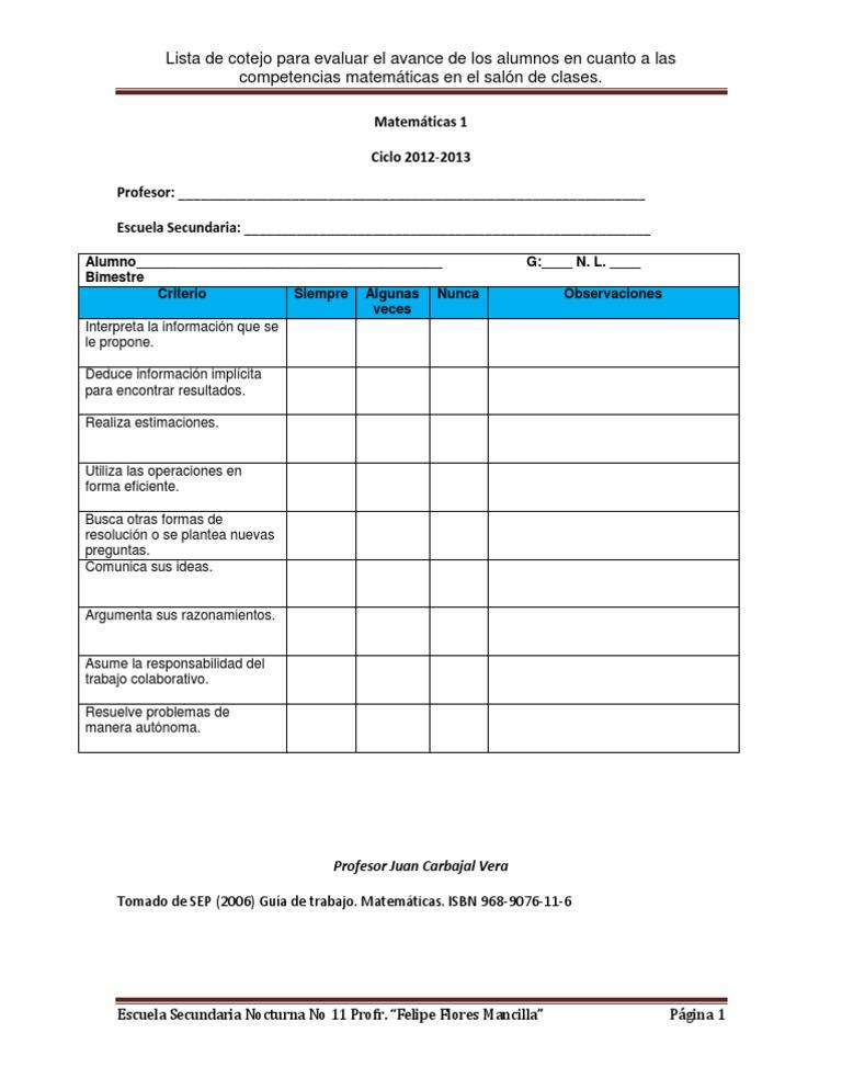 Lista de cotejo para las competencias matemáticas en el salón de clases