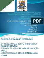 ENTREVISTA CURRICULO E TRABALHO PEDAGÓGICO