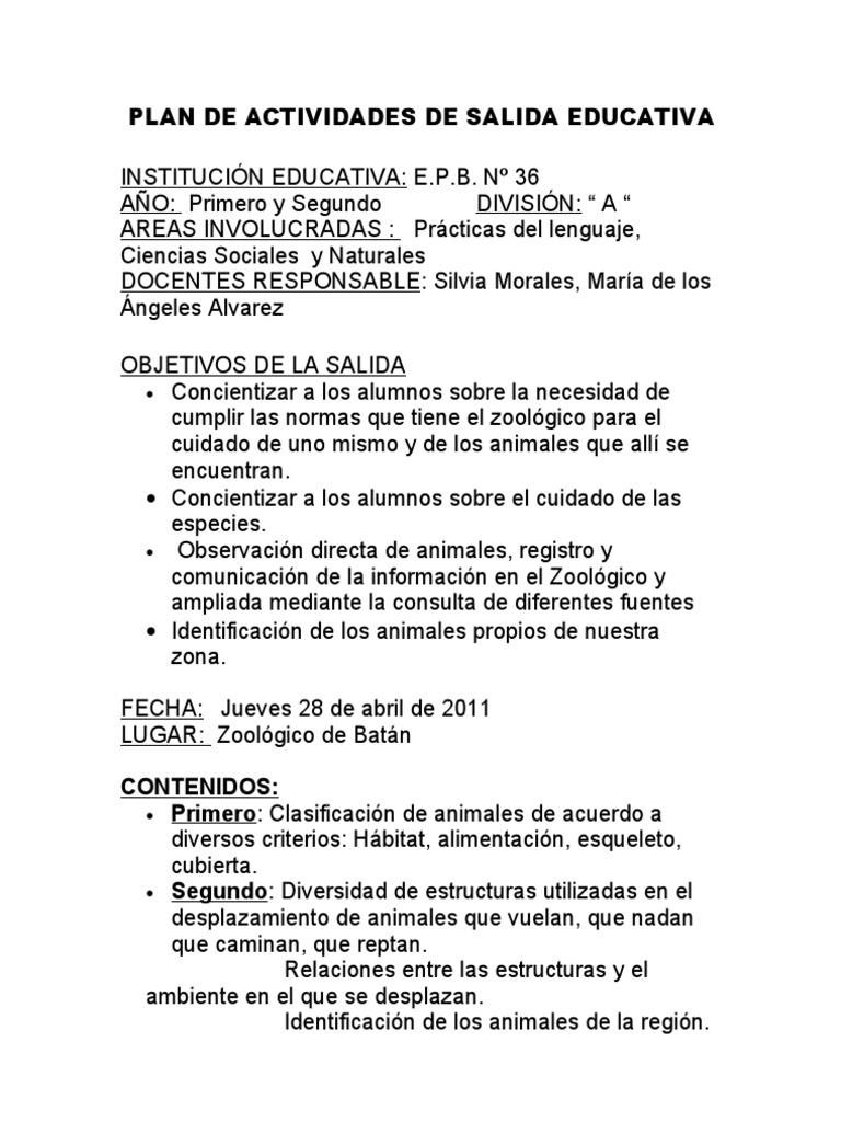 PLAN DE ACTIVIDADES DE SALIDA EDUCATIVA.Zoológico - photo#10