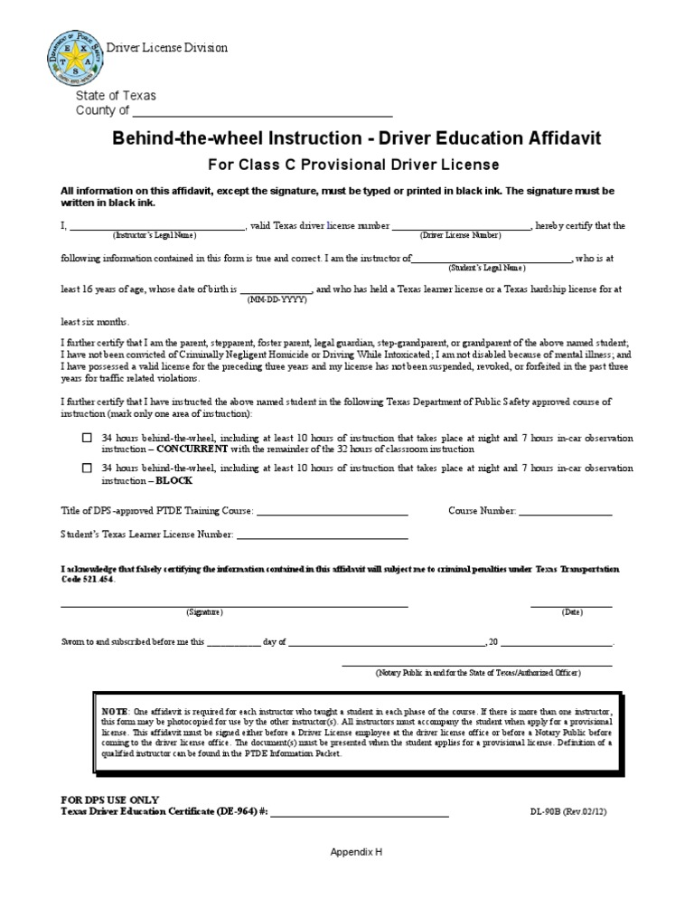 DlB  BehindTheWheel Instruction  Driver Education Affidavit