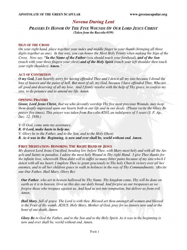 Novena prayers during lent