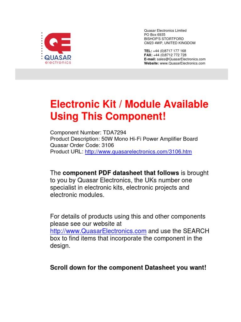 Tda 7294 Amplifier Electromagnetism Tda7294 100w Audio