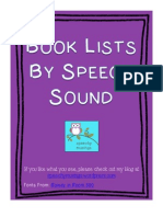 Book Lists by Speech Sound Printable Half Sheets