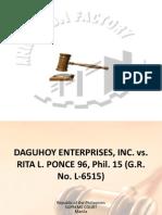 Daguhoy Enterprise, Inc. vs Ponce 16 Phil 96