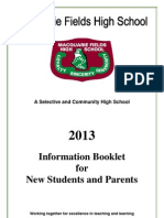 New Student Inforomation Booklet 2013
