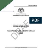 Jadual Waktu UPSR 2013 - Draf - Calon Berkeperluan Khas