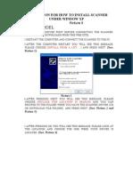 Instruction for Installing Scanner Under Xp